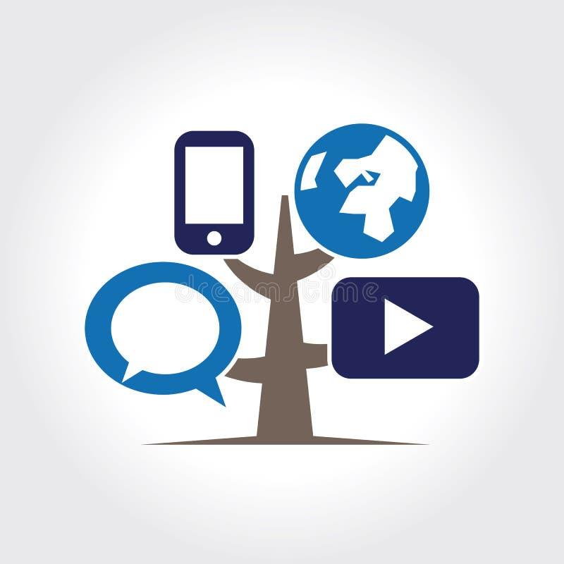 Mall för logo för Digital trädsymbol. vektor illustrationer