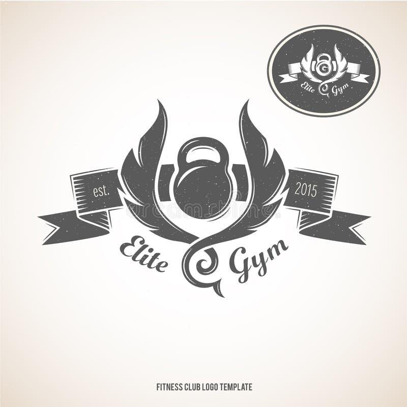 Mall för logo för konditionklubba royaltyfri illustrationer