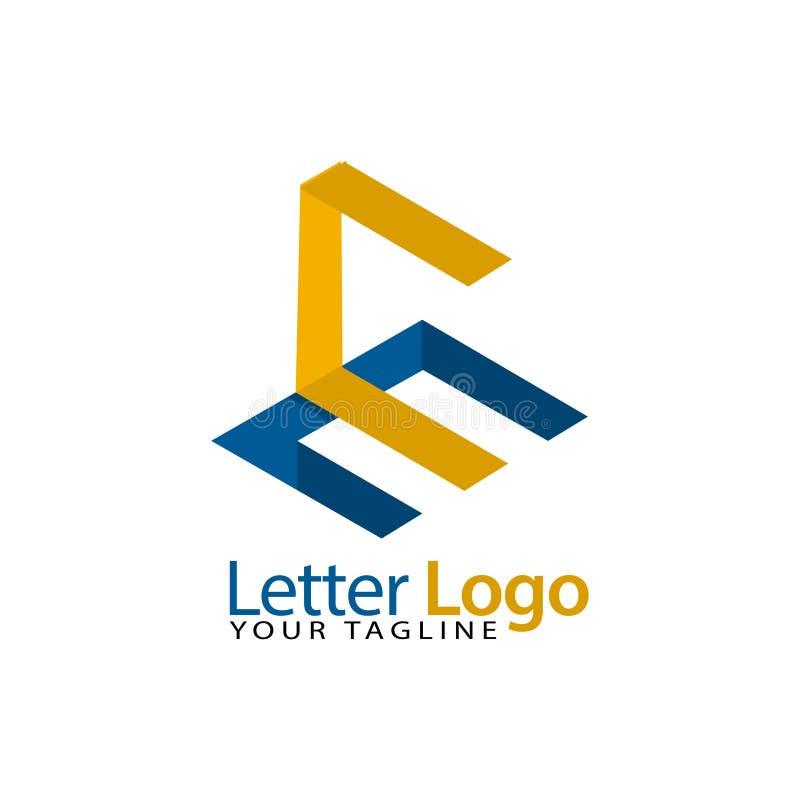 Mall för logo för initialt materiel för CE , modern pappers- stilsort royaltyfri illustrationer