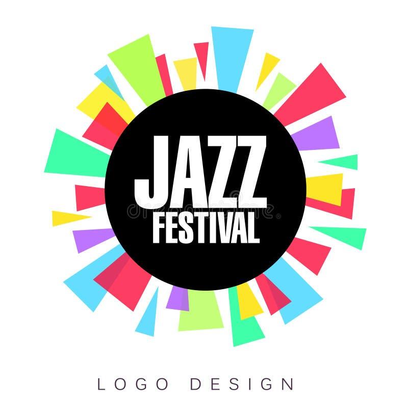 Mall för logo för jazzfestival, färgrikt idérikt baner, affisch, reklambladdesignbeståndsdel för musikalisk partiberömvektor royaltyfri illustrationer