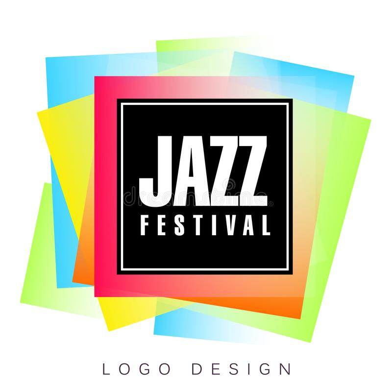 Mall för logo för jazzfestival, idérikt baner, affisch, reklambladdesignbeståndsdel för musikalisk partiberömvektor royaltyfri illustrationer