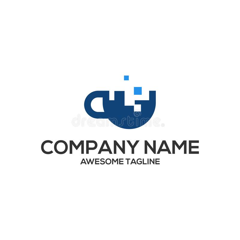 Mall för logo för koppdatateknologi royaltyfri illustrationer