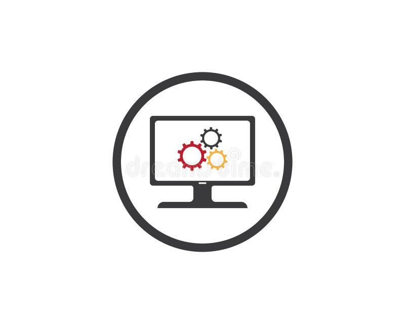 Mall för logo för reparation för vektordator och bärbar dator vektor illustrationer