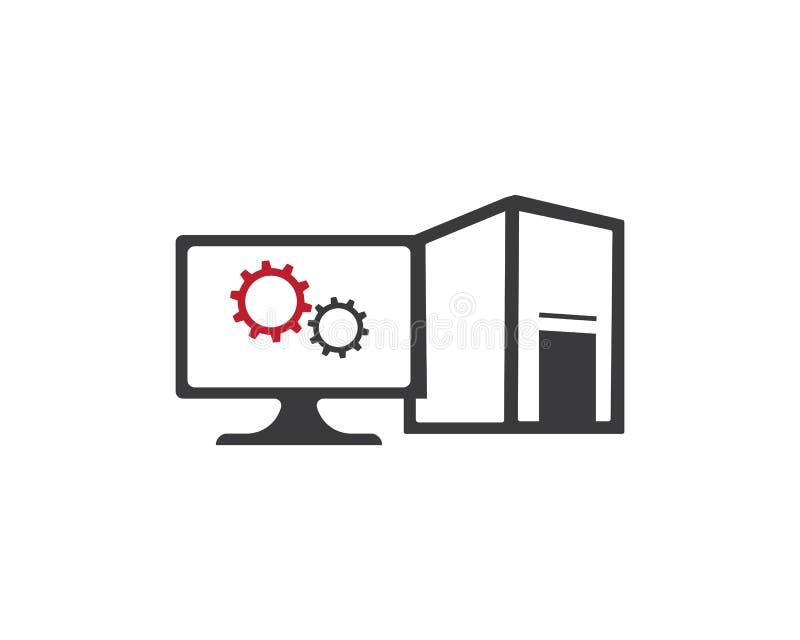 Mall för logo för reparation för vektordator och bärbar dator royaltyfri illustrationer