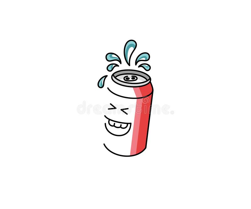 Mall för logo för sodavattentecknad filmtecken Snabbmat- och drinkvektordesign royaltyfri illustrationer