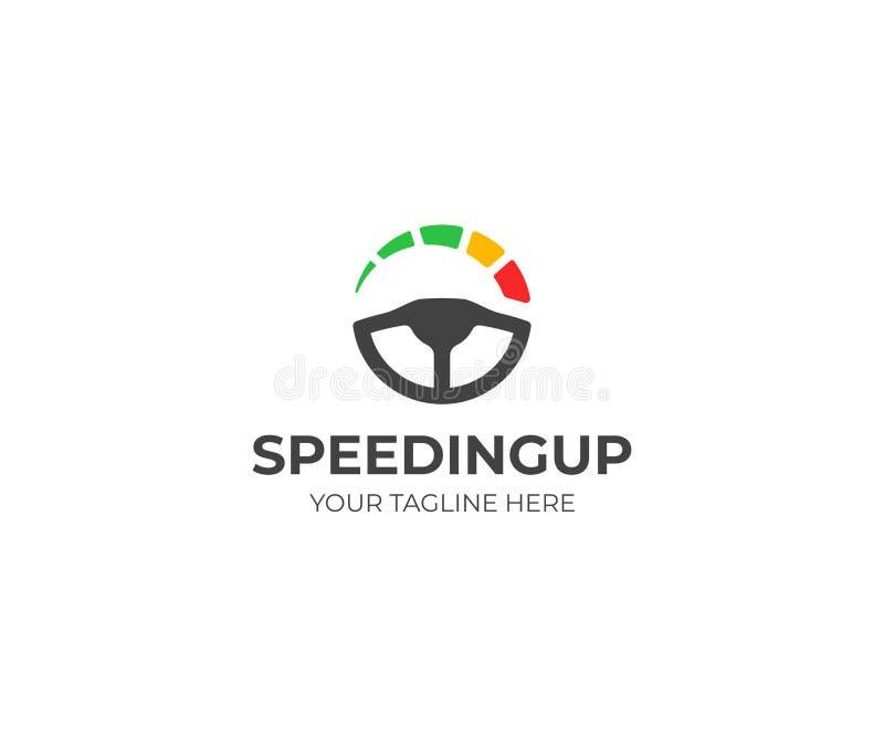 Mall för logo för styrninghjul och hastighetsmätare Körskolavektordesign royaltyfri illustrationer