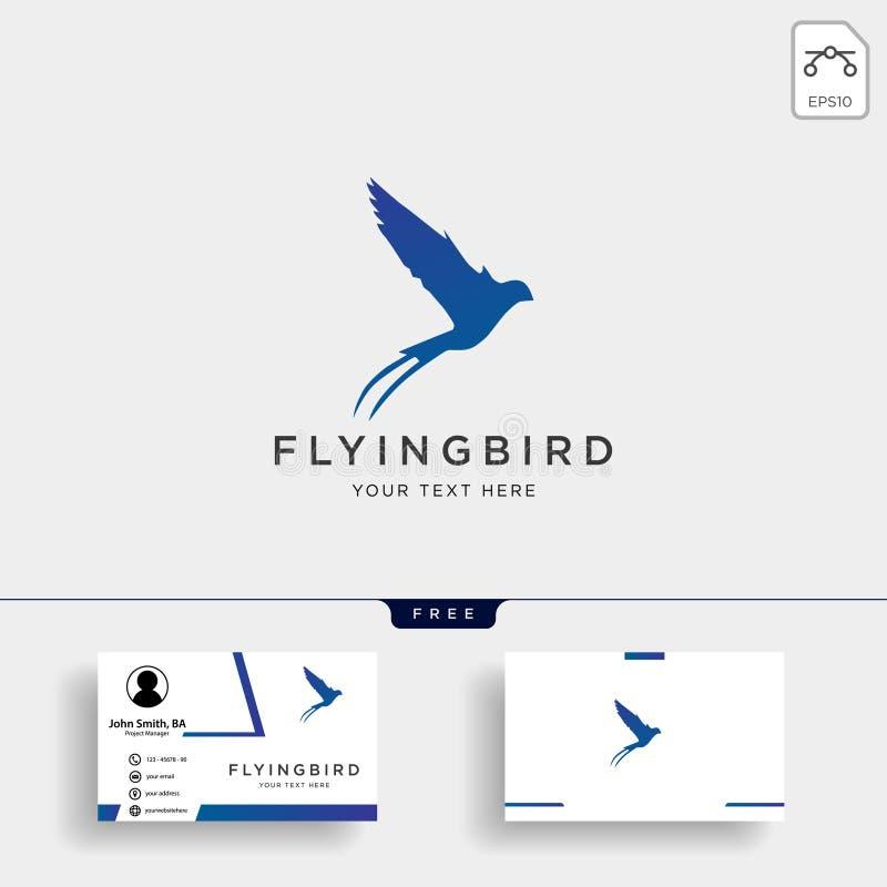 mall för logo för svala för flygfågel med affärskortet vektor illustrationer