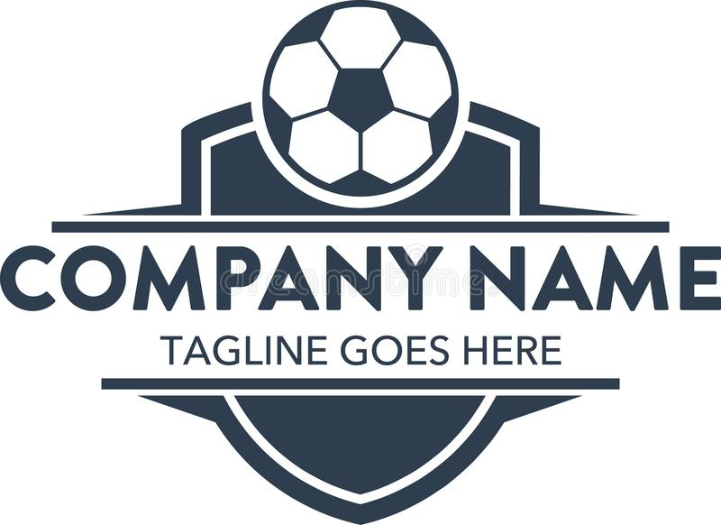 Mall för logo för unik fotbollfotboll släkt vektor redigerbart royaltyfri illustrationer