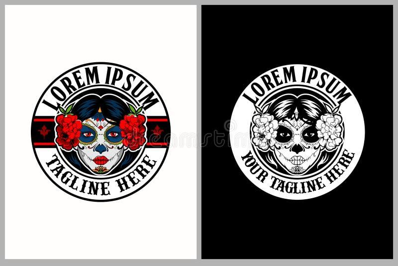 Mall för logo för vektor för fantastisk och unik Calavera Catrina sockerskalle kvinnlig royaltyfri illustrationer
