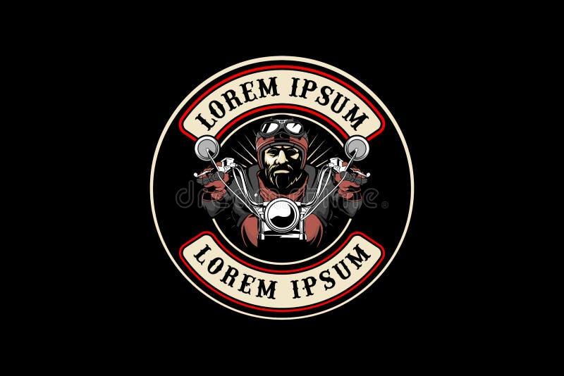 Mall för logo för vektor för motorcykel för mancyklistritt rund stock illustrationer