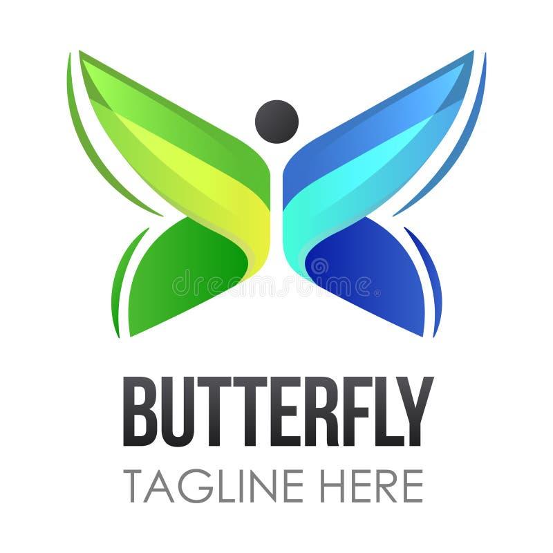 Mall för logo för vektorfjäril abstrakt med två symmetriska vingar i blå och grön färg Färgrik modern fjärilssymbolsdesign royaltyfri illustrationer