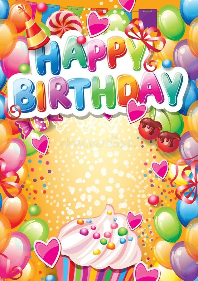 Mall för lyckligt födelsedagkort royaltyfri illustrationer