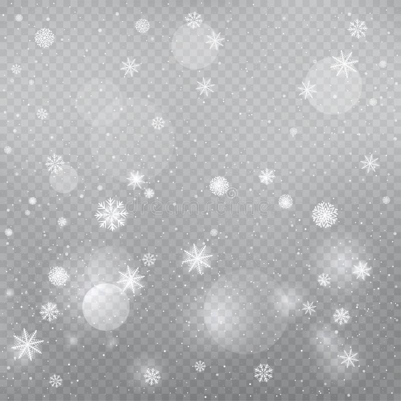 Mall för magisk snö för jul fallande stock illustrationer