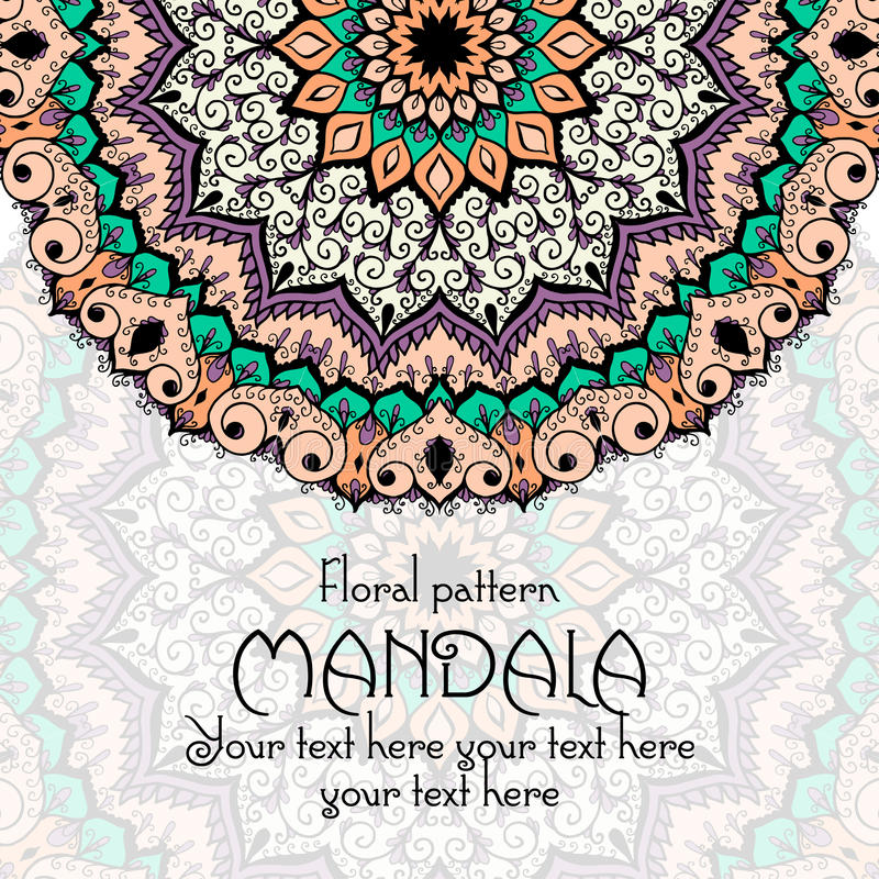Mall för Mandalamodelldesign Tappningperson som tillhör en etnisk minoritet vektor illustrationer