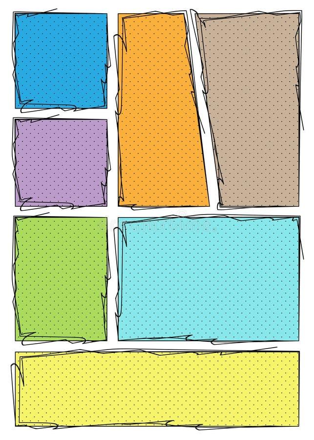 Mall för manga storyboard-layout för att snabbt skapa serieboksformat Färg textur A4-design för pappersformat passar för utskrift royaltyfri illustrationer