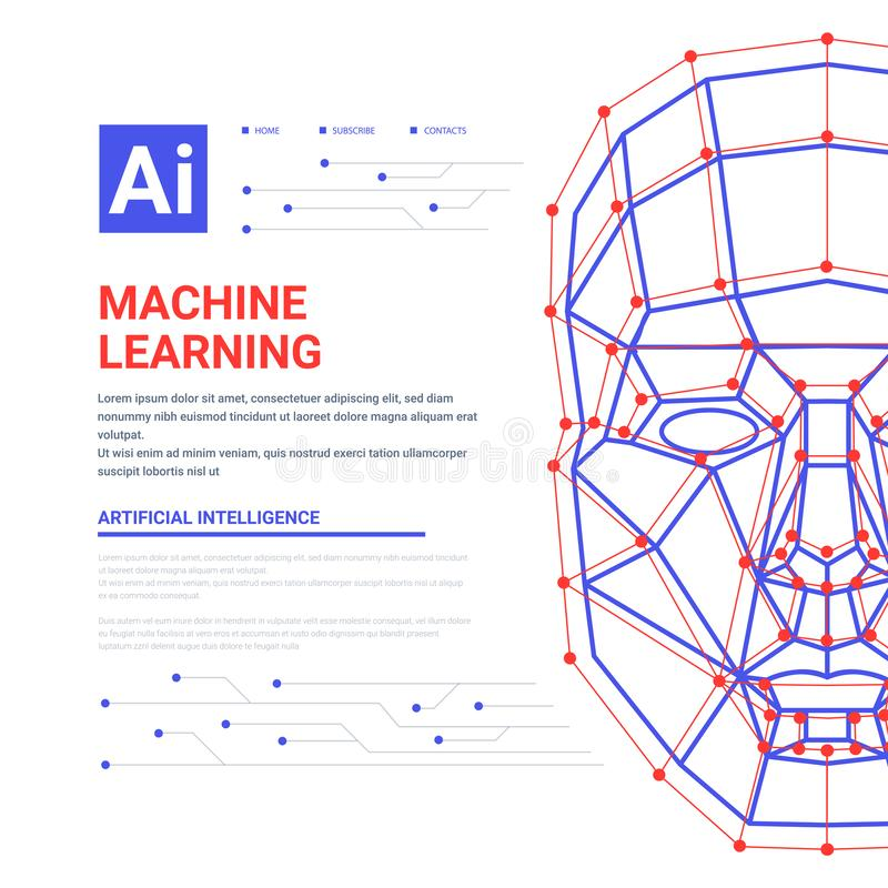 Mall för maskinlärande systemrengöringsduk Mänsklig framsida som består av flöde för polygoner, för punkter, för linjer och för b stock illustrationer