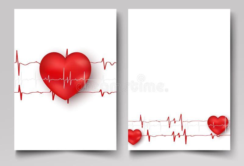 Mall för medicinbroschyrdesign abstrakt hjärtared vektor illustrationer