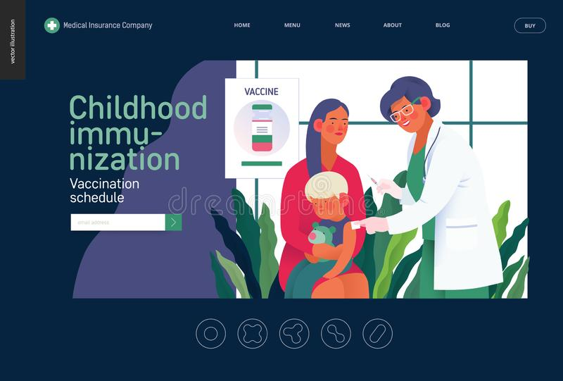 Mall för medicinsk försäkring - barndomimmunisering royaltyfri illustrationer