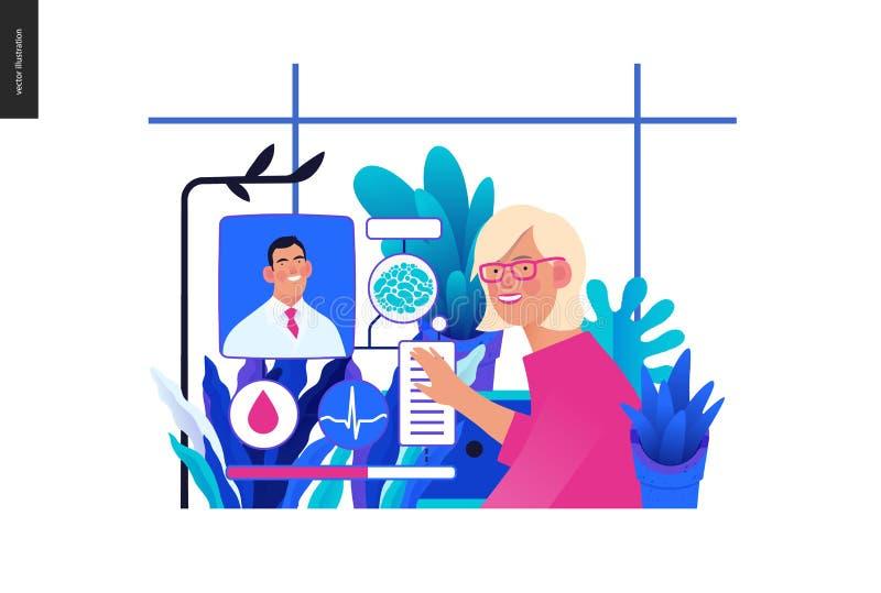 Mall för medicinsk försäkring - medicinsk fallchef stock illustrationer