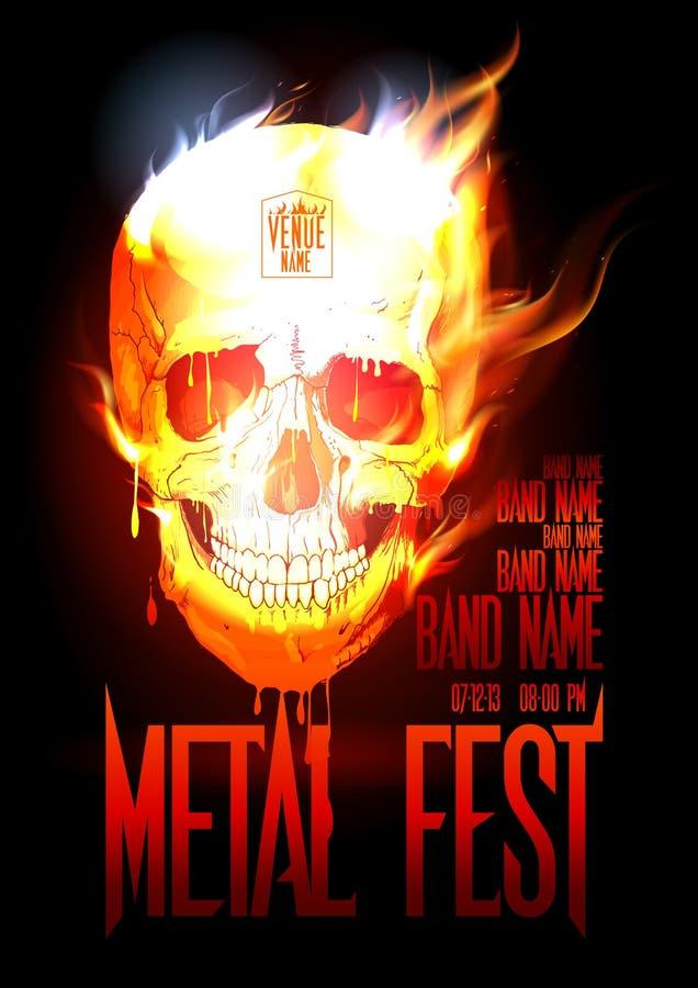 Mall för metallfestdesign med skallen i flammor. vektor illustrationer