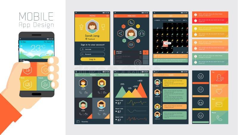 Mall för mobilen app och websitedesign stock illustrationer