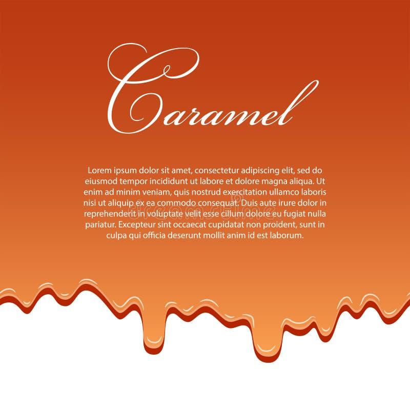 Mall för modell för karamellsås sömlös, lorem ipsumtext droppvätskeisolerad vit bakgrund för karamell 3d Flödessirap stock illustrationer
