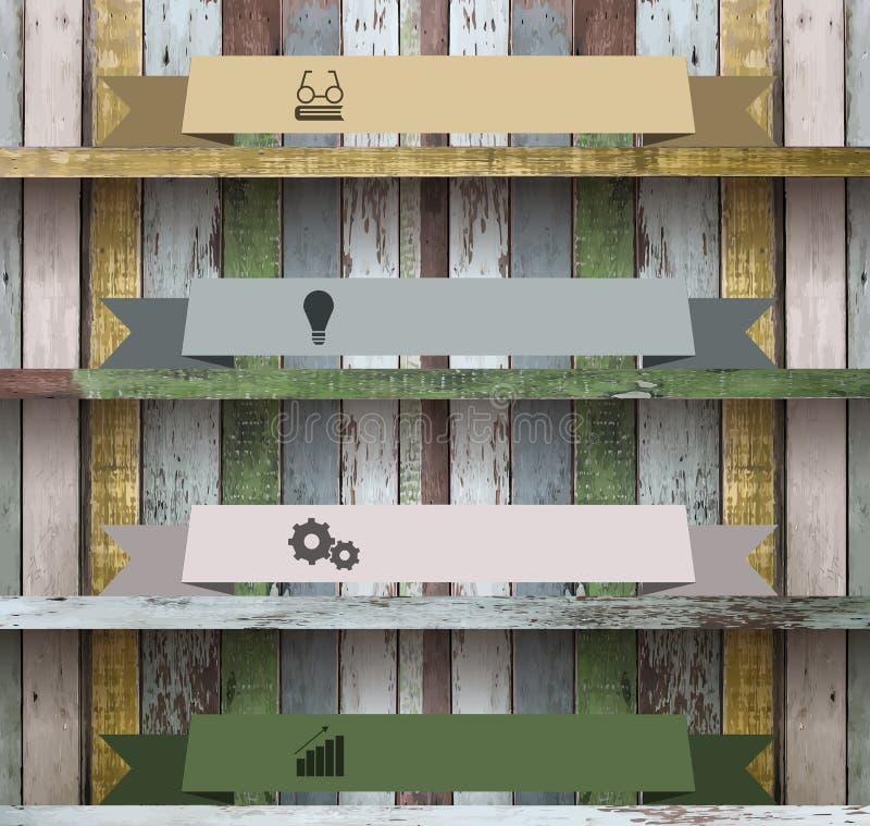 Mall för modern design för hylla för vektor wood stock illustrationer