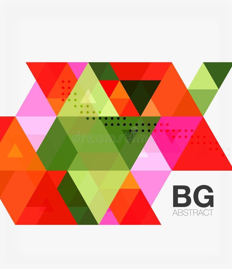 Mall för modern mosaik för triangel geometrisk vektor illustrationer
