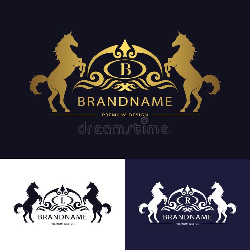 Mall för monogramlogoemblem med hästen Behagfull lyxig design Calligraphic bokstav B, L, r-affärstecken för hotellet, restaurang, royaltyfri illustrationer