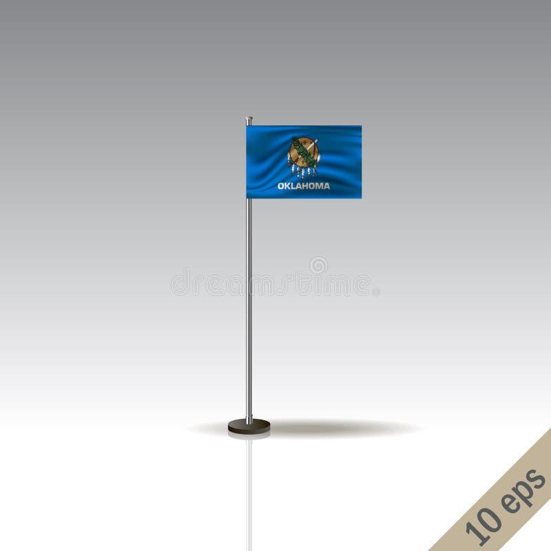 Mall för Oklahoma vektorflagga Vinkande Oklahoma flagga på en metallisk pol som isoleras på en grå bakgrund vektor illustrationer