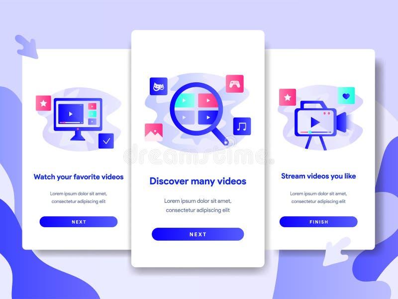 Mall för Onboarding skärmsida av det videopd strömmande applikationbegreppet Modernt plant designbegrepp av webbsidadesignen för  stock illustrationer