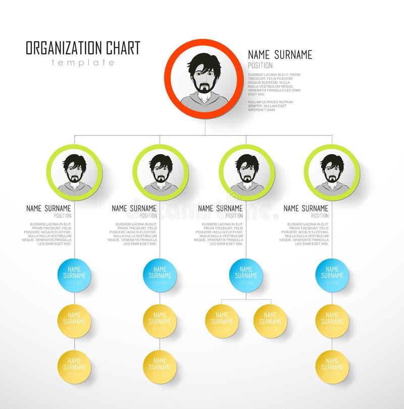 Mall för organisationsdiagram med färgrika cirklar stock illustrationer