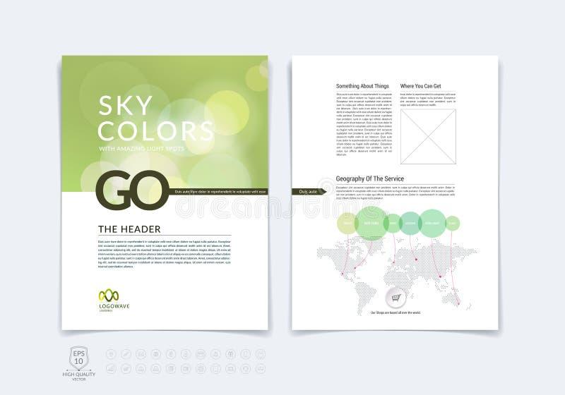 Mall för orientering för affärsbroschyr-, reklamblad- och räkningsdesign med b stock illustrationer
