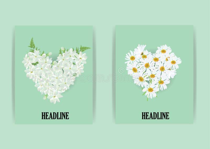 Mall för orientering för broschyrreklambladdesign, format A4, jasmin och tusensköna stock illustrationer