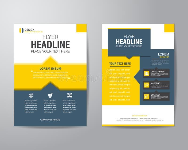 Mall för orientering för design för affärsbroschyrreklamblad i formatet A4, med royaltyfri illustrationer