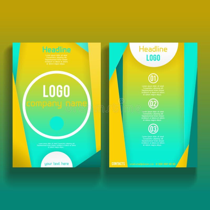 Mall 002 för orientering för design för vektorbroschyrreklamblad royaltyfri illustrationer