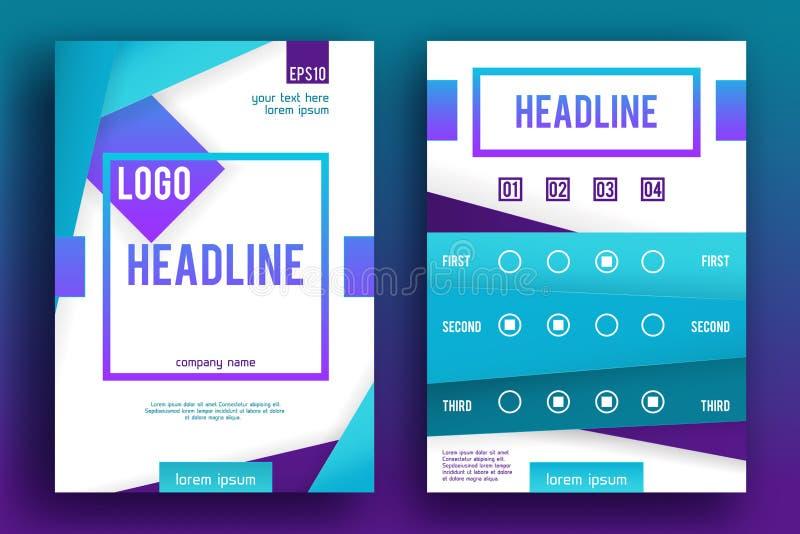 Mall 007 för orientering för design för vektorbroschyrreklamblad vektor illustrationer