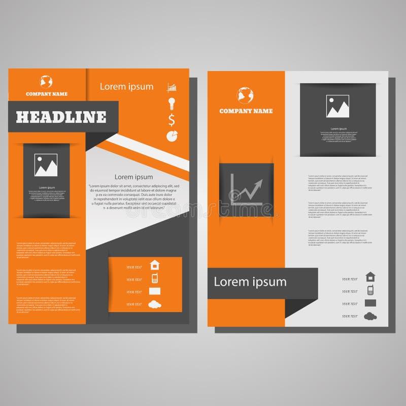 Mall för orientering för design för vektorbroschyrreklamblad infographic eps 10 royaltyfri illustrationer