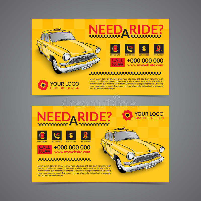 Mall för orientering för kort för affär för taxiuppsamlingsservice royaltyfri illustrationer