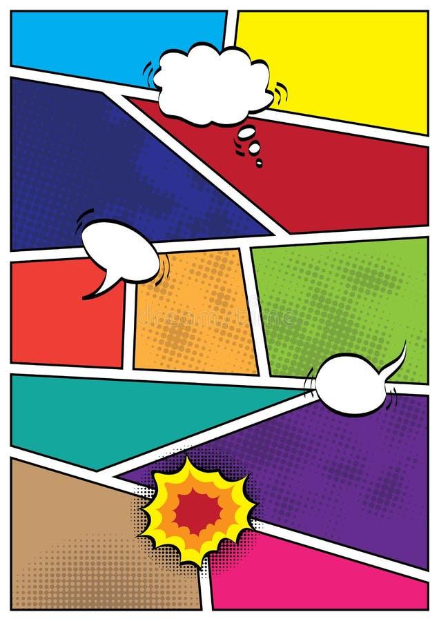 Mall för orientering för mellanrum för komikerpopartstil royaltyfri illustrationer