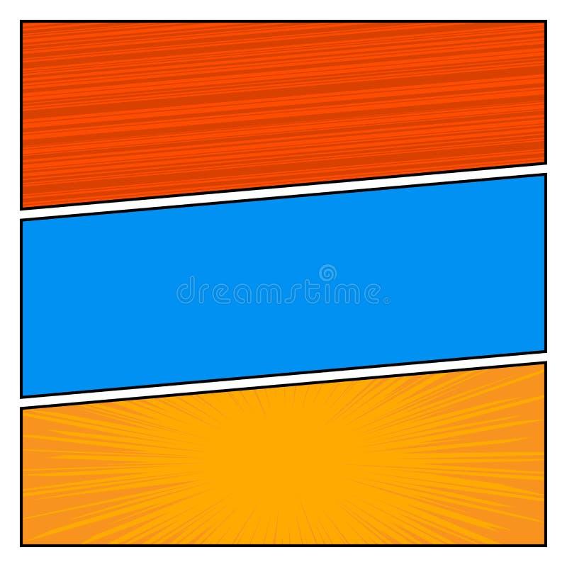 Mall för orientering för mellanrum för stil för komikerpopkonst med vektorn för bakgrund för prickmodell stock illustrationer
