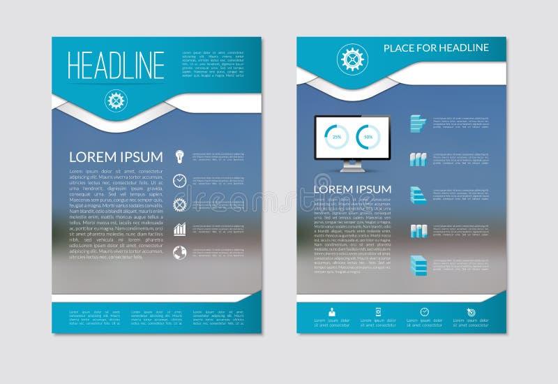 Mall för orientering för reklambladbroschyrdesign med suddig bakgrund Format A4 vektor illustrationer