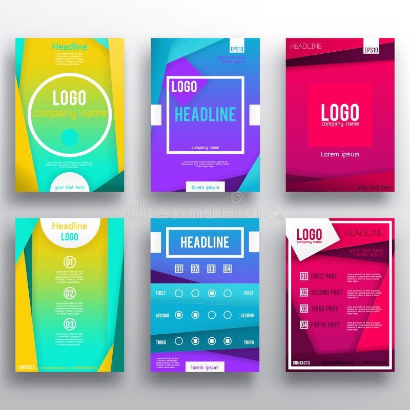 Mall för orientering för uppsättning för design för vektorbroschyrreklamblad stock illustrationer
