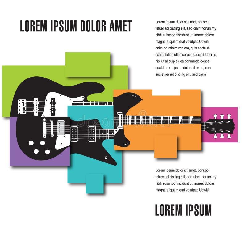 Mall för orientering för musikkonsertaffisch stock illustrationer