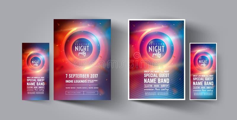 Mall för orientering för för nattklubbpartireklamblad eller affisch Musikalisk electro konsert i stilen av huset, dubstep, techno stock illustrationer