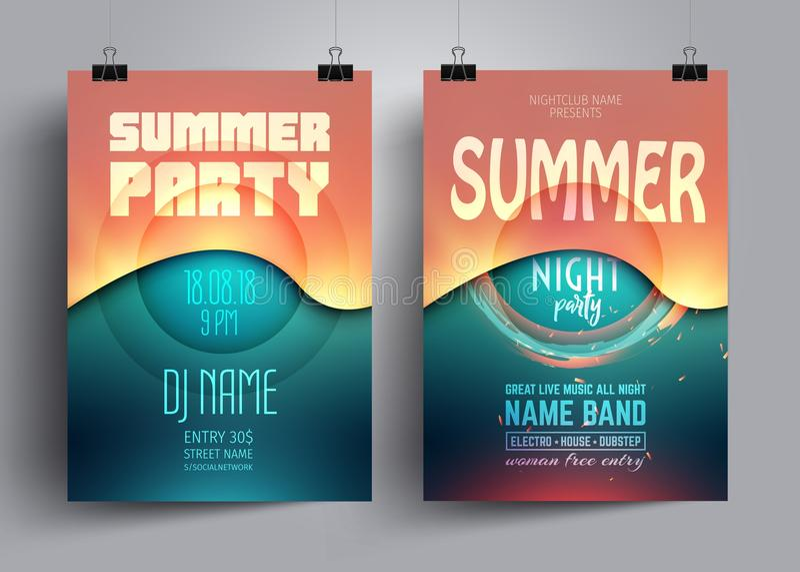 Mall för orientering för för sommarpartireklamblad eller affisch med bakgrund från färgrika vågor royaltyfri illustrationer