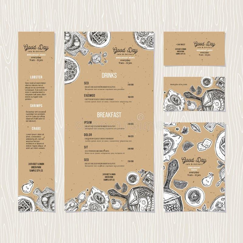 Mall för papp för kaféfrukostmeny Kaféidentitet också vektor för coreldrawillustration stock illustrationer