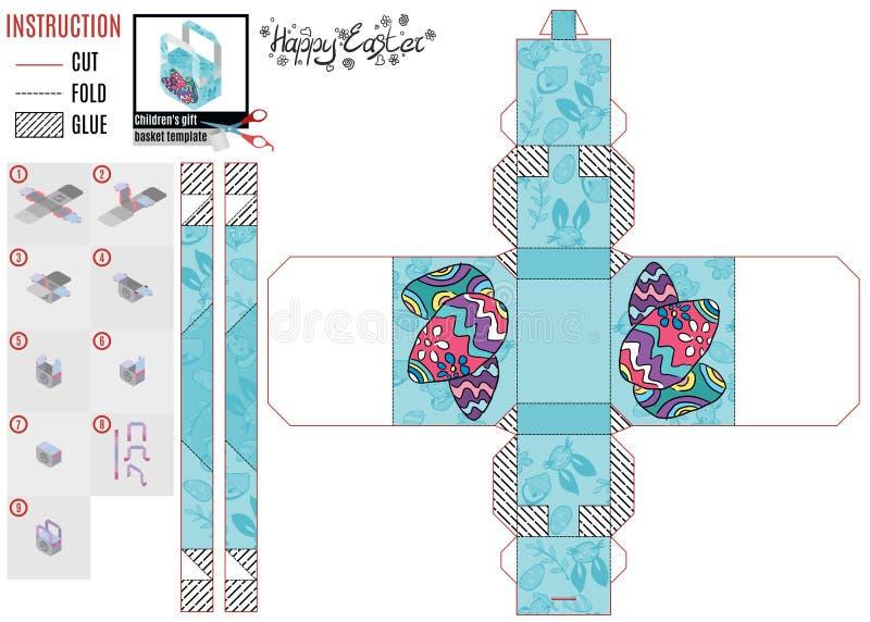 Mall för pappers- ask för easter ferie med fega ägg vektor illustrationer