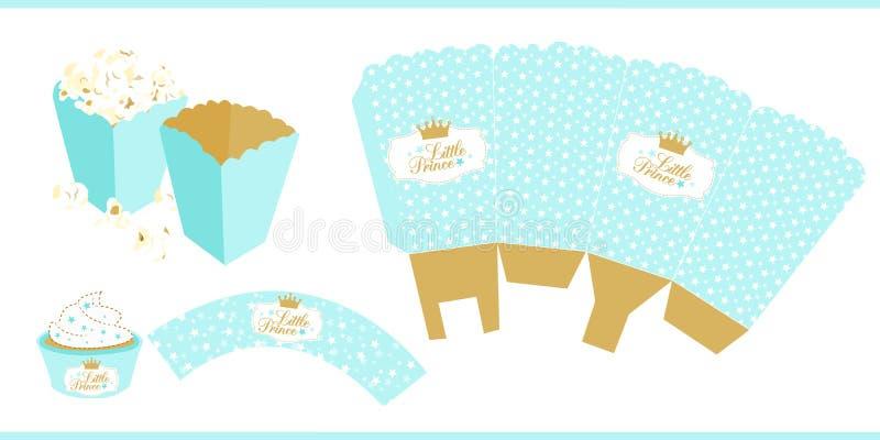 Mall för pappers- ask för popcorn För liten prins royaltyfri illustrationer