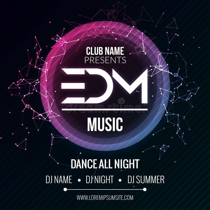 Mall för parti för EDM-klubbamusik, reklamblad för dansparti, broschyr Affisch för baner för ljud för nattpartiklubba royaltyfri illustrationer